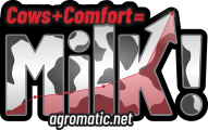 Agromatic: Cows + Comfort = Milk! logo.