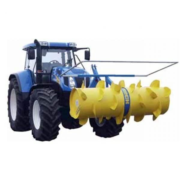 RECK Silage Spreader mounted on front of tractor.