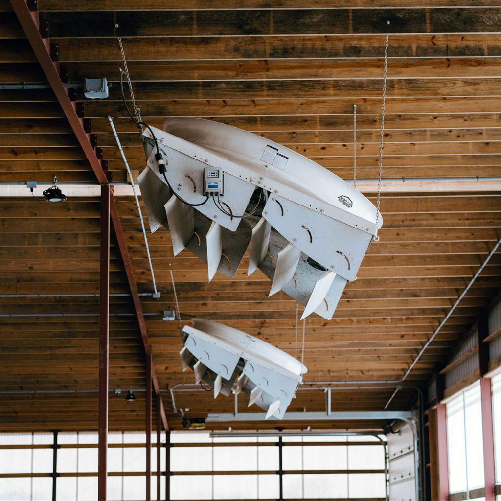 Agro Air Dynamics barn recirculating fans in use.