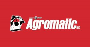 Agromatic Inc. logo on red background.