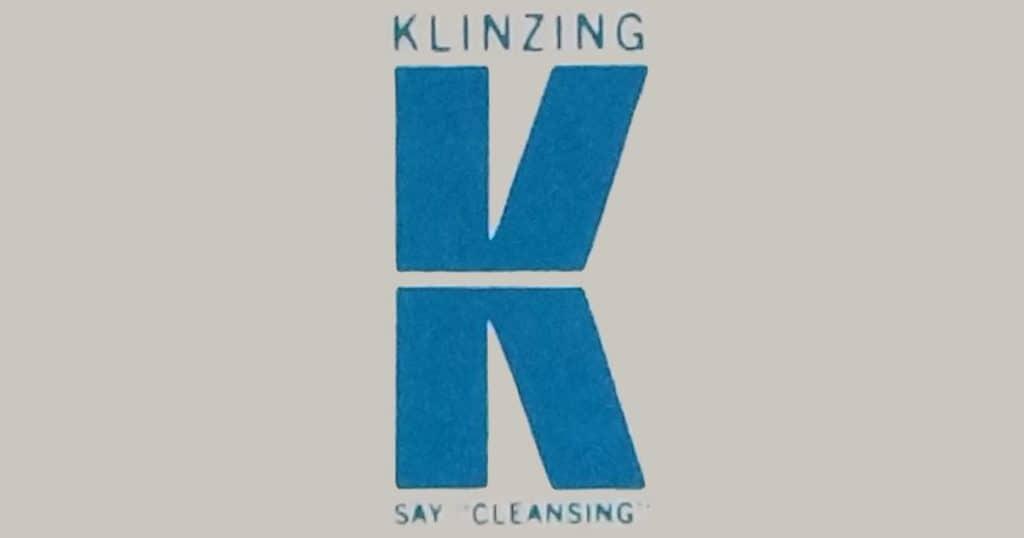 """Klinzing """"K"""" logo: SAY """"CLEANSING""""."""