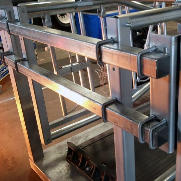 Agromatic Elevated Twin Beam Freestall System in shop.