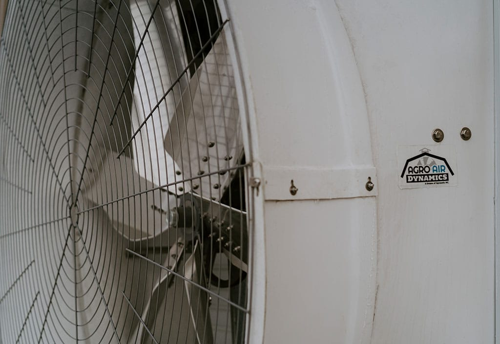 "72"" belt driven exhaust fan (close-up)."