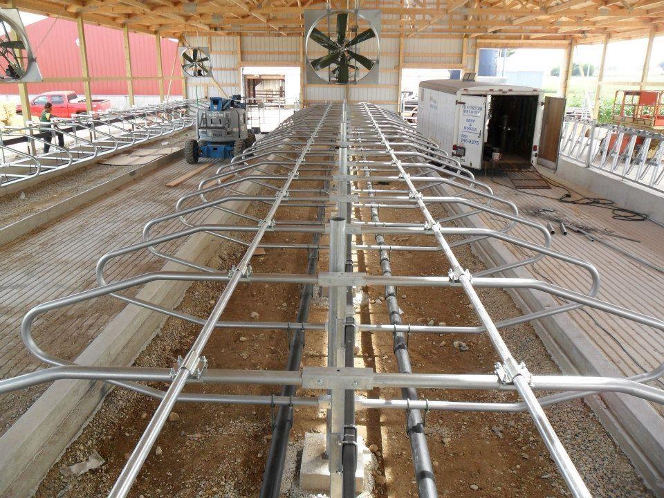 Recirculation fans on a new dairy farm.