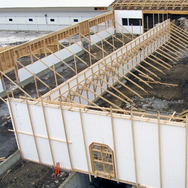 Building under construction with Agromatic concrete wall forms